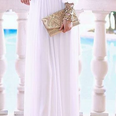 Simple Style White Chiffon Prom Dre..