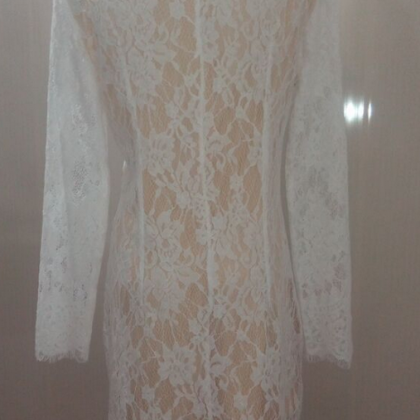 Lace white dress,Long sleeve lace p..