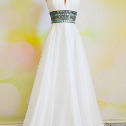 A chiffon long gown with a bridle w..