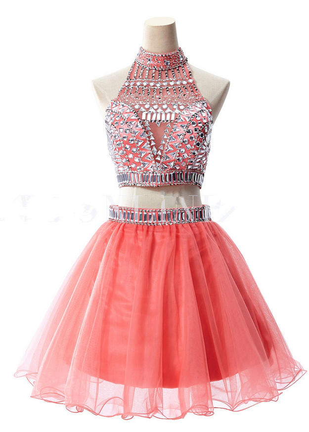 Beaded Embellished Two-Piece Homecoming Dress Featuring High Halter Cropped Top with Cutout Back and Short Tulle Skirt