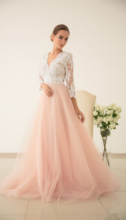 Cheap wedding dresses,Scalloped V Neck Blush Tulle Wedding Dress with Half Sleeves