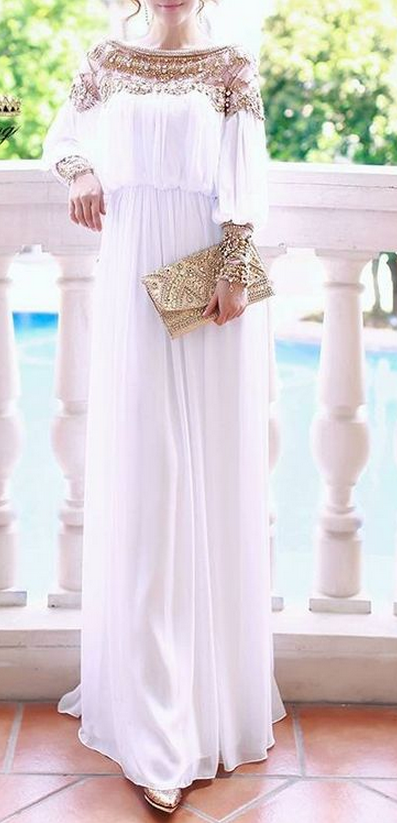 Simple Style White Chiffon Prom Dress Long Sleeves Prom Dresses Party Dress