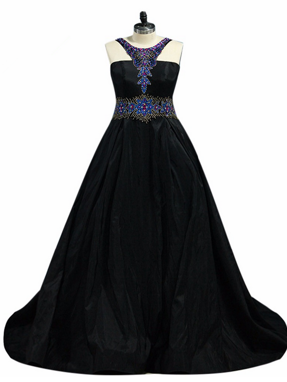 Halter Beaded A-line Long Prom Dress, Evening Dress, Formal Dress
