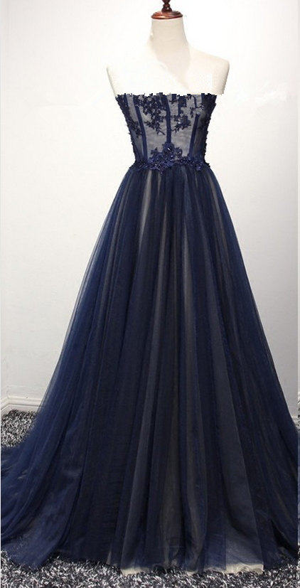 Real Image Simple Strapless Floor-Length Navy Blue Prom Dresses Top Lace Appliques Vestidos Formatura Coniefox Dress Top Quality, Royal Blue Prom Dress, Long Prom Dress