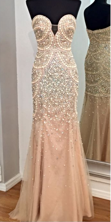 Plunging Strapless Sweetheart Beaded Mermaid Long Prom Dress, Evening Dress