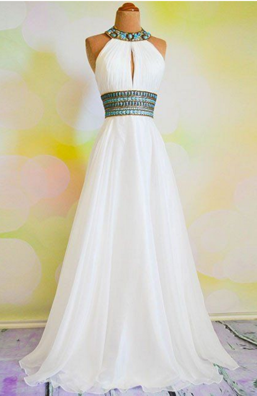 A chiffon long gown with a bridle white ball gown, evening dress.