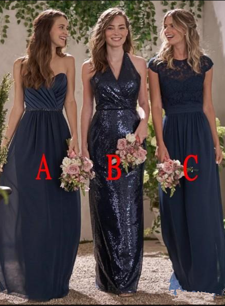 Bridesmaid Dresses For Weddings Navy Blue Sweetheart Jewel Neck Sequins A Line Lace Ruched Plus Size Maid Of Honor Wedding Guest Dress