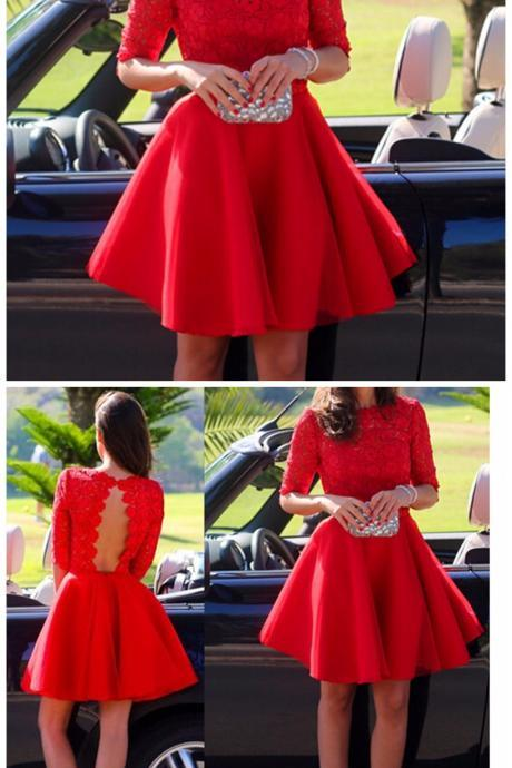 Elegant Red Lace Bodice Short Homecoming Dress Short Formal Dress