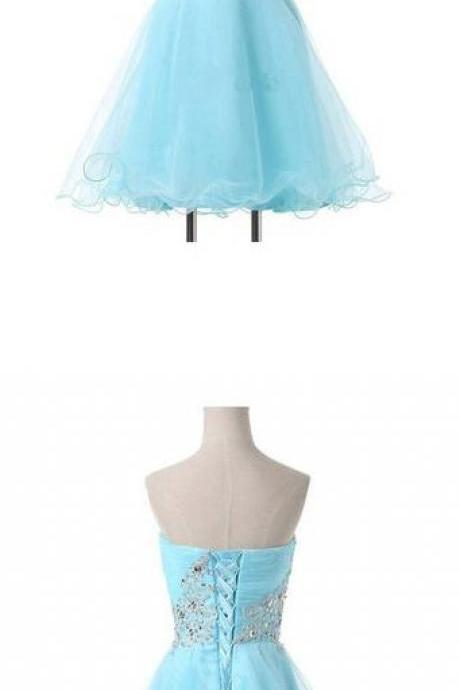 Lace-Up Homecoming Dresses,Short A-Line Sweetheart Appliques Beading Homecoming Gowns
