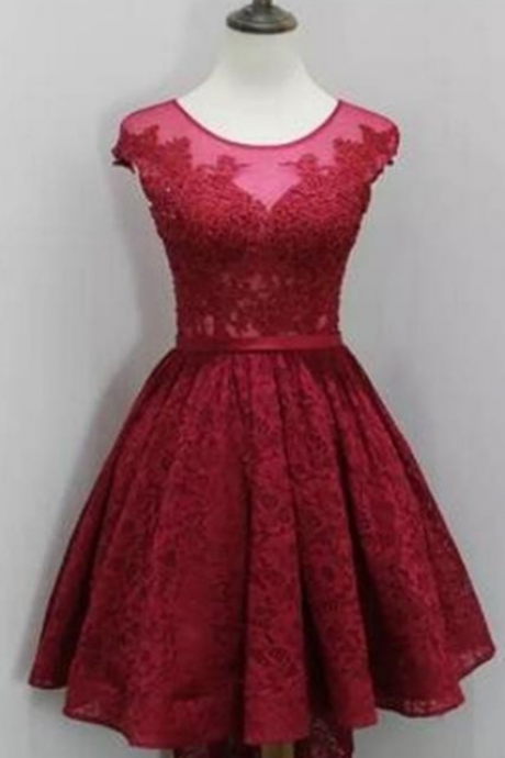 O-neck Lace Red Short Homecoming Dresses Cocktail Dresses