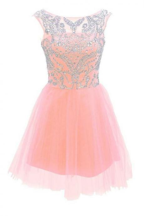 Pretty Handmade Girly Pink Cute Homecoming Dresses For Teens