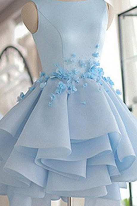 Sky Blue Homecoming Dress,A-line Scoop Neck Prom Dress,Satin Tulle Short Flowers Original Prom Dresses,Mini Dress