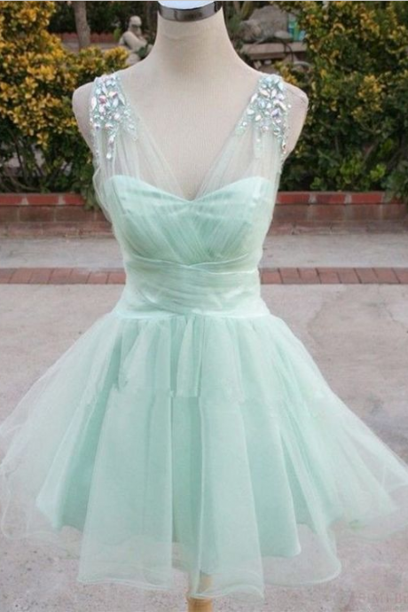 Mint Green Homecoming Dresses, Organza Homecoming Dresses, Rhinestone Homecoming Dresses, Homecoming