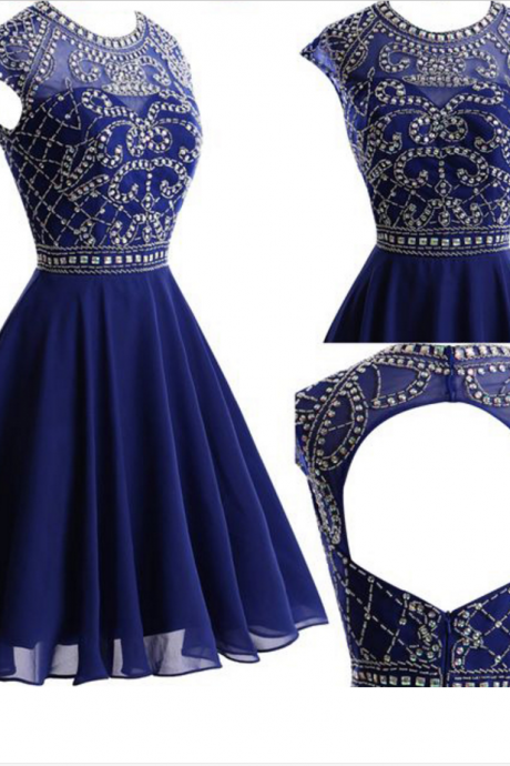 Rhinestone Homecoming Dresses, Navy Chiffon Homecoming Dresses, Open Back Homecoming Dresses, Short Prom