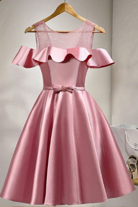 Pink Homecoming Dresses,Lace Up Homecoming Dresses,Satin Homecoming Dress,Simpe Homecoming Dress,Homecoming Dresses,Cheap Homecoming Dresses,Short Homecoming Dresses,Party
