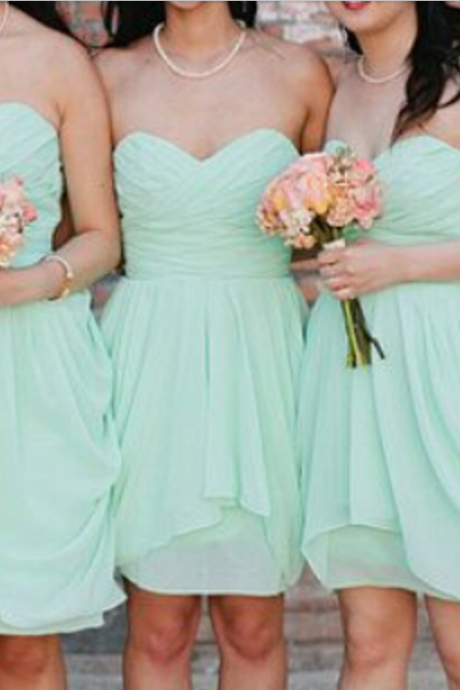 Short Mint Bridesmaid Dresses, Short Homecoming Dress,Strapless Homecoming Dresses