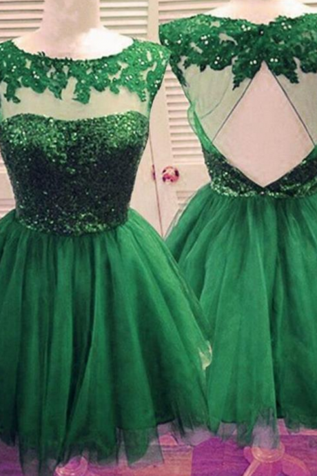 Green Open back Homecoming Dress , Homecoming Dresses,Sparkly Cocktail Dresses