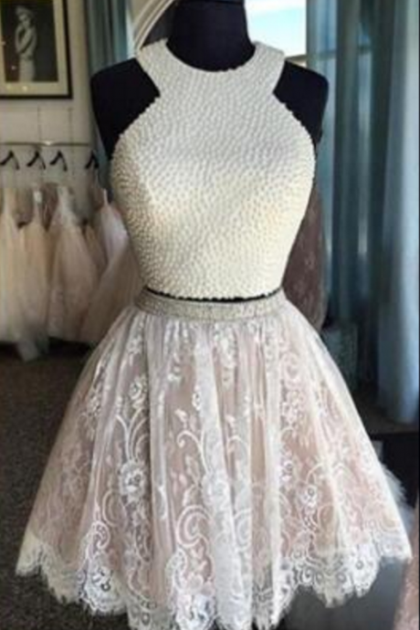 Lace Homecoming Dresses, Two Pieces Homecoming Dresses, High Neck Homecoming Dresses, Homecoming