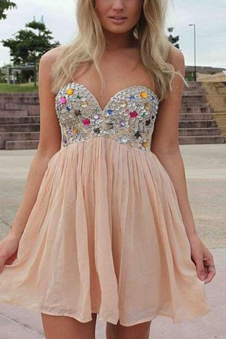 Custom Made Strapless Sweetheart Neckline Diamond Embellished Chiffon Short Cocktail Dress, Graduation Dress, Evening Dress, Homecoming Dress