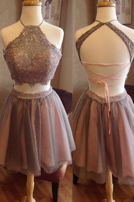 Two Pieces Homecoming Dresses,Halter Homecoming Dresses,Lace Homecoming Dress,Short Prom Dresses,Party