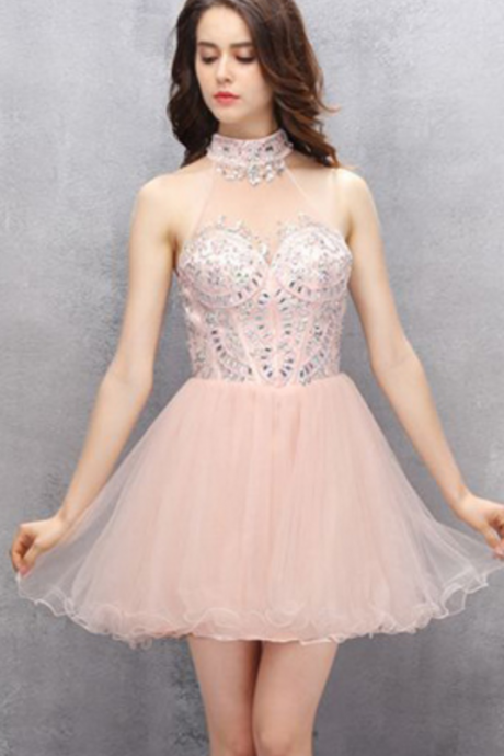 Light Pink Organza Homecoming Dresses, Rhinestone Homecoming Dresses, Open Back Homecoming Dresses,
