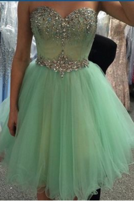 Mint Green Homecoming Dresses, Sweetheart Homecoming Dresses, Beads Homecoming Dresses, Rhinestone