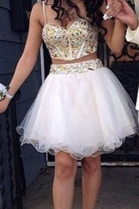 Two Piece Homecoming Dress,White Tulle Homecoming Dresses