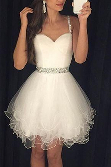 Sweetheart White Homecoming Dress,Spaghetti Straps Short Homecoming Dresses
