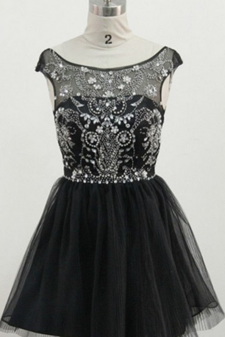 Black Short Homecoming Dress,Cap Sleeve Homecoming Dresses