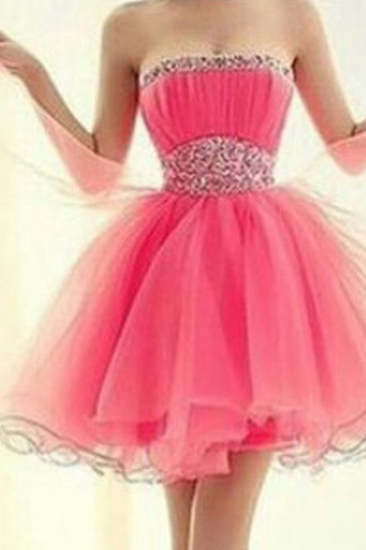 Strapless Short Homecoming Dress,Organza Homecoming Dresses