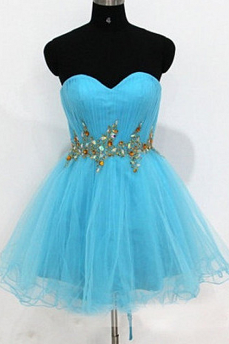 Blue Sweetheart Homecoming Dress,Organza Homecoming Dresses