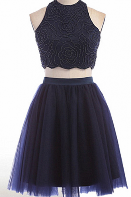 High Neck Homecoming Dress,Two Piece Homecoming Dresses