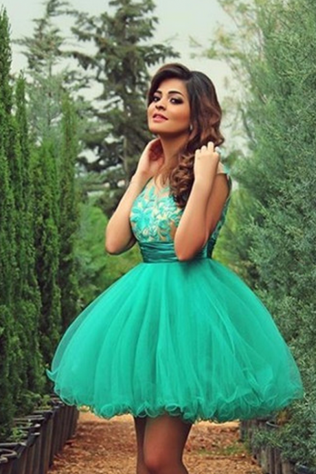 Sleeveless Homecoming Dress,Green Applique Homecoming Dresses