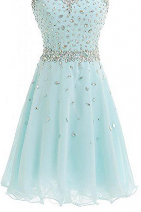 Baby Blue Homecoming Dress,Beading Homecoming Dresses