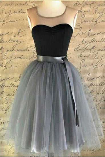 Sleeveless Homecoming Dress,Grey Tulle Homecoming Dresses