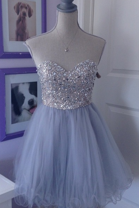 Light Purple Homecoming Dress,Lace Tulle Homecoming Dresses