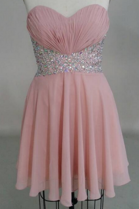 Pink Beading Homecoming Dress,Strapless Short Homecoming Dresses