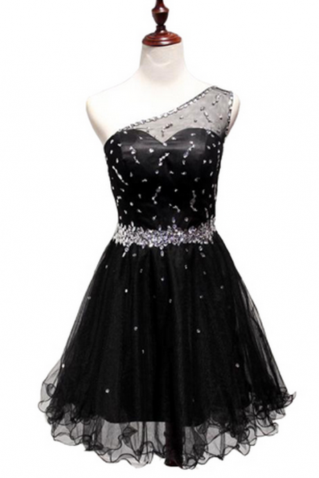 Black homecoming dress, one shoulder homecoming dress, cheap homecoming dress, simple homecoming dress,