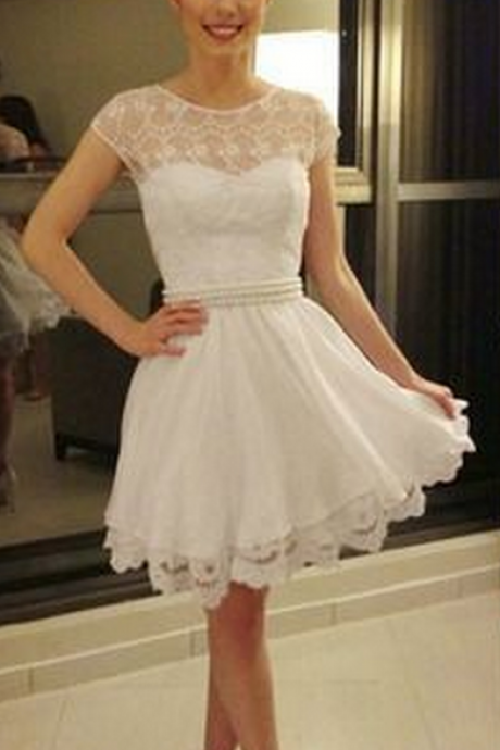 Round Neck Cute Homecoming Dresses, White Lace Homecoming Dresses, See Through Homecoming Dresses,