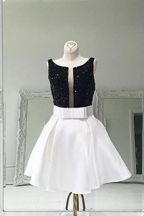 Homecoming Dresses, White Satin Homecoming Dress,Short Graduation Dresses, Short Homecoming Dress, 2017