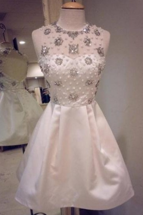Elegant White Satin Homecoming Dresses,Handmade Homecoming Dresses,Pretty Short Homecoming Dress,Party