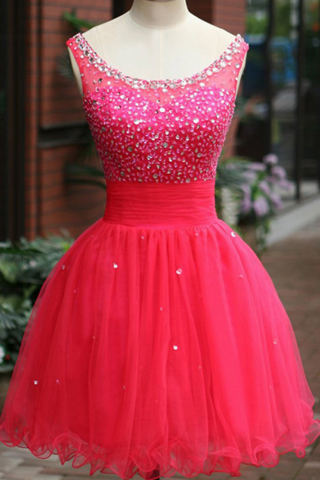 Homecoming Gown,Tulle Beaded Homecoming Dresses,Scoop Mini Fuchsia Homecoming Dress With Crystal