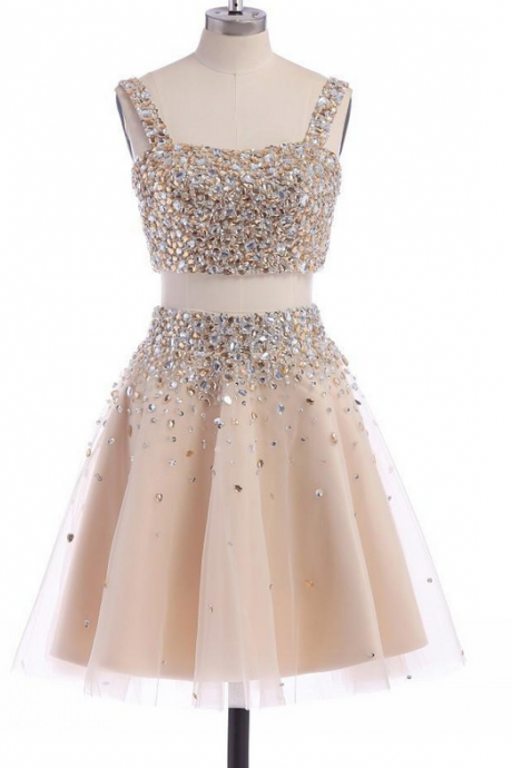 Homecoming Dresses,Junior Homecoming Dresses,2 pieces Rhinestone homecoming dress, Sexy homecoming dress,