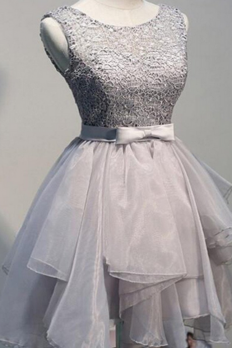 Grey organza unique sleeveless lace homecoming prom dresses, SF0077