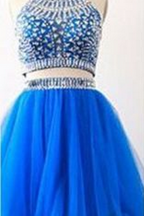 High Neck Rhinestone Homecoming Dresses, Organza Homecoming Dresses, Two Pieces Homecoming Dresses,