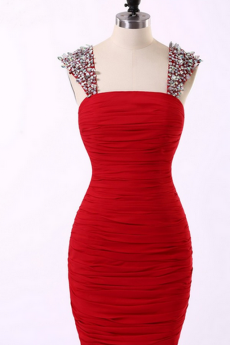 Sleeveless Crystal Beaded Ruched Bodycon Short Homecoming Dress, Formal Dress, Party Dress