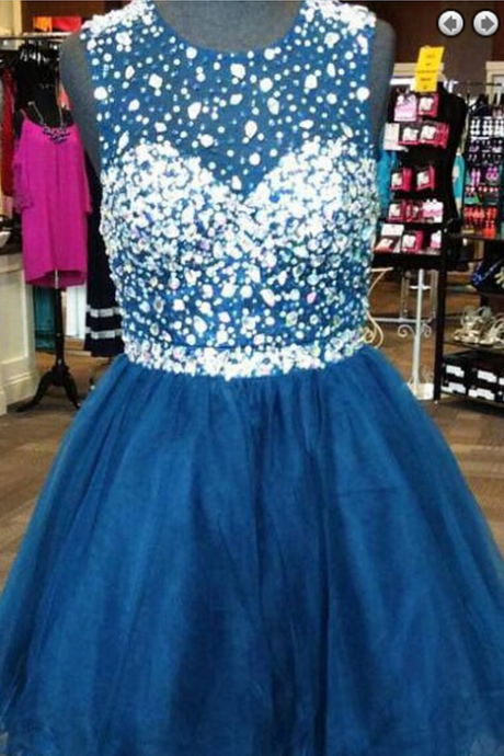 Beaded Scoop A-line Homecoming Dress, Backless Short Homecoming Dresses,Blue Homecoming Dress