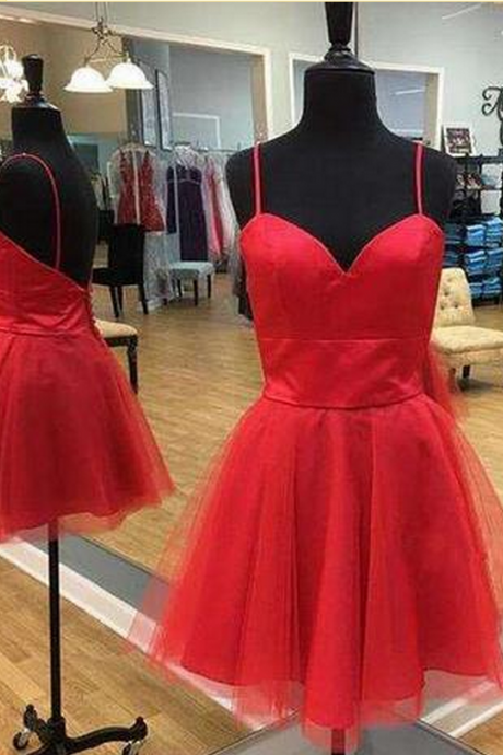 Simply Straps Red Short Tulle Homecoming Dress