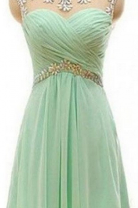 Mint Handmade Short Chiffon Backless High Low Homecoming Dresses K448