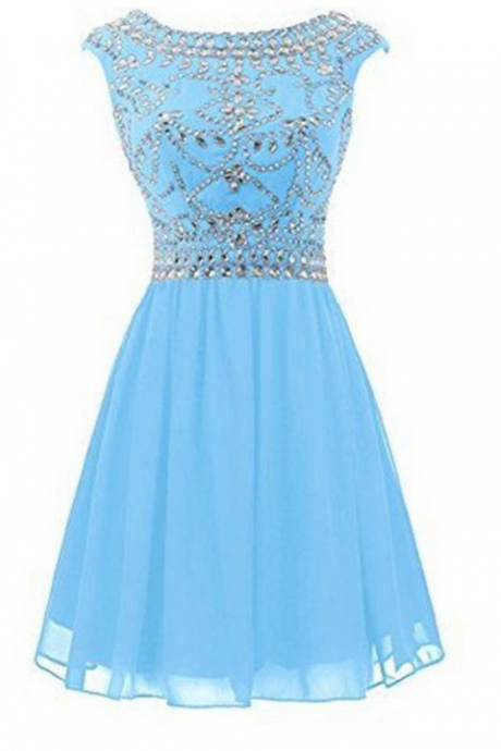 Ice Blue Short Chiffon Homecoming Cocktail Dresses K319
